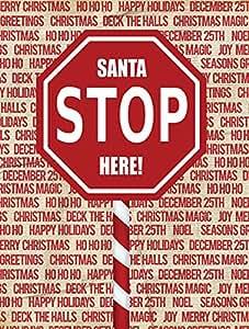 Caroline 's Treasures SB3118CHF Santa Claus Stop Here Stop - Bandera de lona, tamaño grande, multicolor