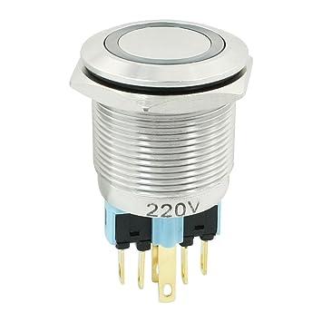 Métal Lampe Bouton 220 Anneau V Poussoir Bleu Mm Nc Avec 1 Interrupteur 22 No En OZukPXTi