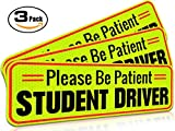 "Automotive : Student Driver Magnet Car Signs for the Novice or Beginner. Better than A Decal or Bumper Sticker (Reusable) Reflective Magnetic Large Bold Visible Text (10"" Be Patient Reflective)"