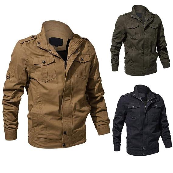 kemilove Mens Cotton Military Zip Jackets Windproof Outdoor Coat Windbreaker at Amazon Mens Clothing store:
