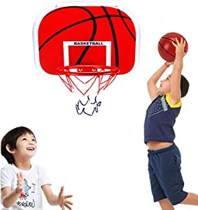 """WISHTIME Basketball Hoop for Kids (15""""x11.5"""") Over The Door Mini Basketball Backboard Goal Indoor Toys Set for Toddlers Youth Boys Girls Office Wall Sport Toys with Ball Pump Family Game Party Favor"""