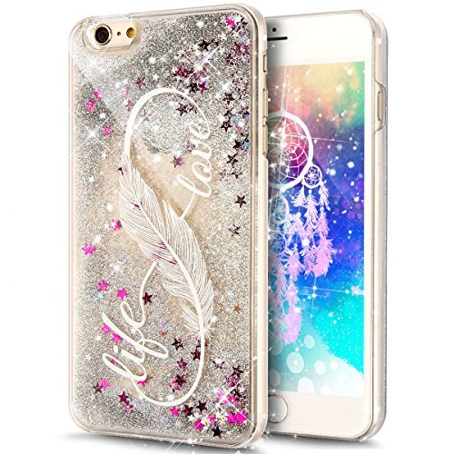 iPhone SE Case,iPhone 5S Case,iPhone 5 Case,iPhone SE 5S 5 Liquid Case,NSSTAR Flowing Liquid Floating Shiny Bling Glitter Sparkle Silver Stars Liquid Case Cover for iPhone SE 5S 5,Feather Love Life