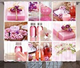 Spa Decor Curtains Flowers Pink Gift Wraps Tiny Scent Bottles and Candles Image Collage Living Room Bedroom Window Drapes 2 Panel Set Lillium Pink and White