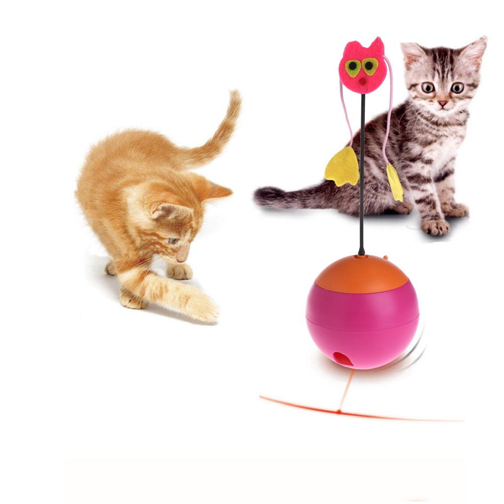 OHTOP Cat Food Dispenser | Pets Kitten Puppy Electric Tumbler Rolling Food Feeder | Spinning Ball with Light (Red)