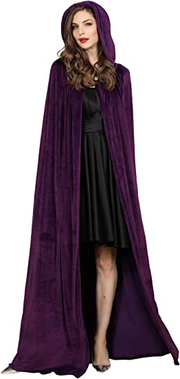 TULIPTREND Adult Soft Deluxe Velvet Cloak with Lined Hood Full Length Capes