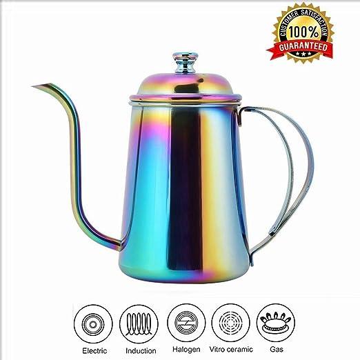 Cafetera, cafetera de acero inoxidable 650ML Olla de cuello de ...