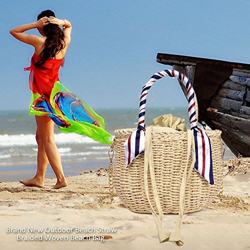 de Gris Hechos de la Waroomss al Hombro de de Libre Las Paja de Aire Cinta Bolsos Mano Mujeres Trenzado Claro Paja la Bolsos Bolso Tejidos a Para Playa ZXqFxE