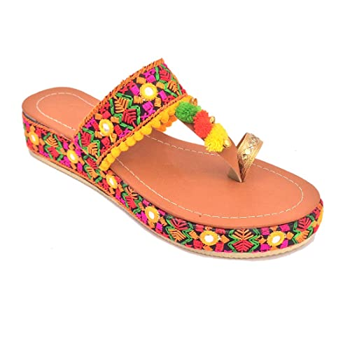 90660fe1732 Pawadi Women Ethnic Pom Pom Casual Flats Footwear Rajasthani Embroidered  gujrati Style Slippers  Buy Online at Low Prices in India - Amazon.in