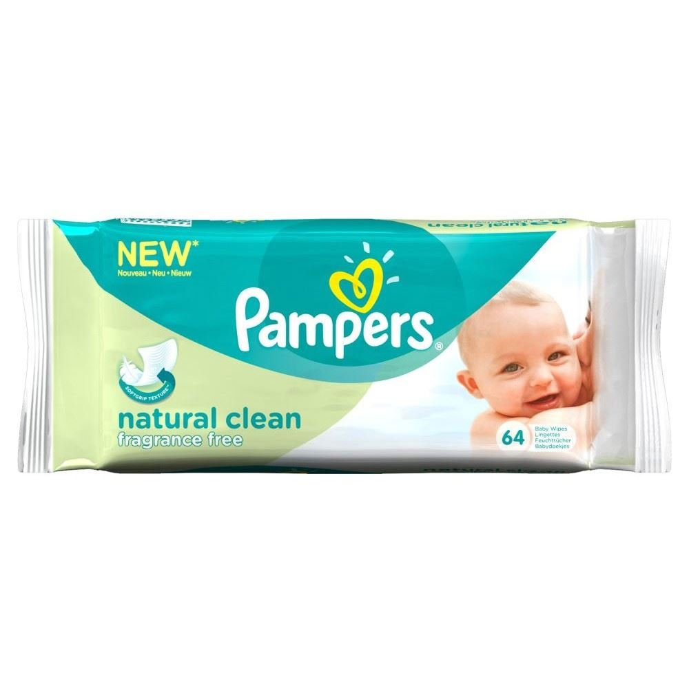 Pampers Natural Clean Fragrance Free Baby Wipes (64) Groceries