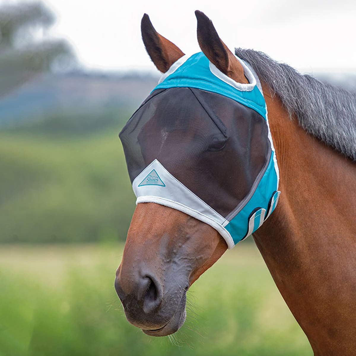 Shires Fine Mesh Fly Mask with Ear Holes, Teal, Full