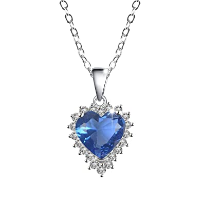 September Birthstone Heart Pendant Necklace For Girl Women Blue Birthday Jewelry Gift Mother Mom Girlfriend