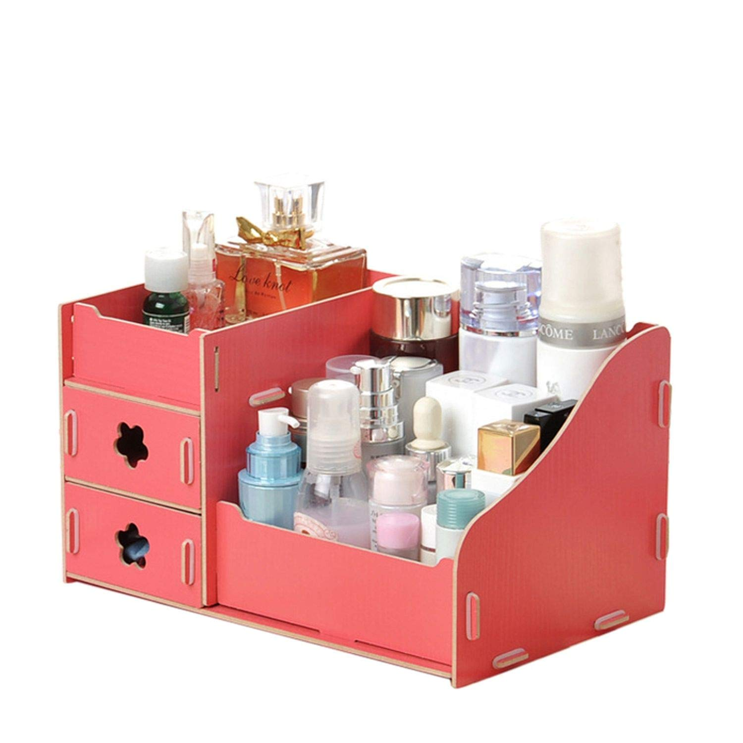 Collocation-Online Wooden Cosmetic Storage Boxes Small Drawer Jewelry Box Desktop Sundries Handmade DIY Makeup,Flower A by Collocation-Online (Image #4)