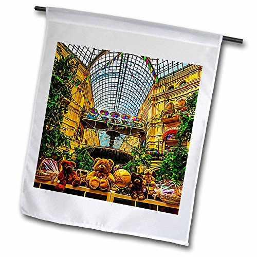 3dRose Alexis Photo-Art - Moscow City 2 - Moscow city art. Shoppers paradise - 18 x 27 inch Garden Flag - Fl Mall Stores