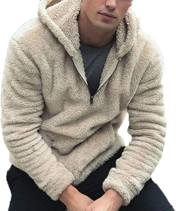 NUOVA Felpa con Cappuccio da Uomo Tinta Unita Caldo in Pile con Zip Sport Felpa Maglione Pullover Top