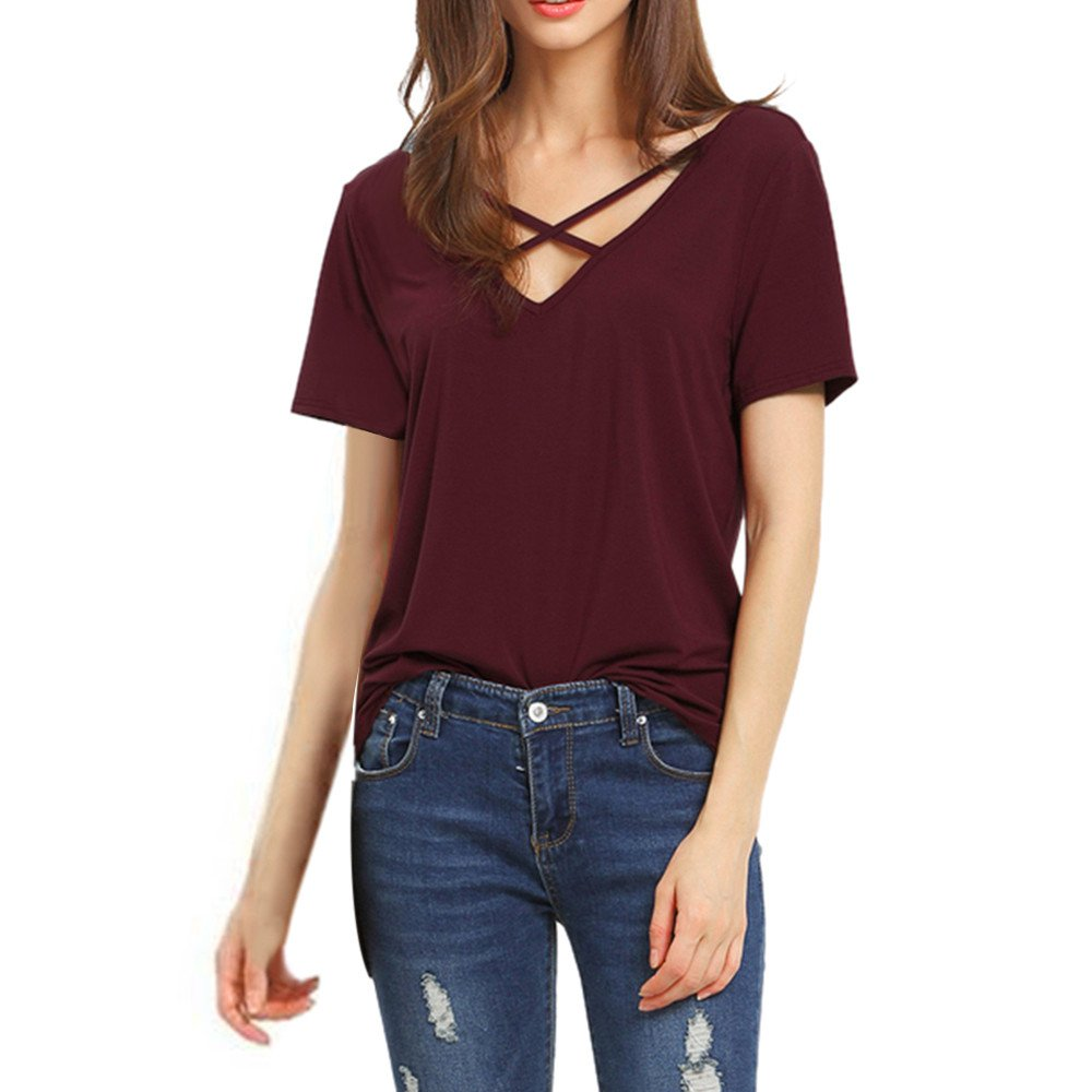 Womens Blouse Solid Criss Cross Loose Shirt Basic Lace up Short Sleeve V Neck Tank Tops (Wine, S)