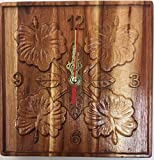 Koa Wooden Clock Hand Carved Hibiscus Hawaiian Flower Design.