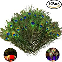 Fellibay Craft Peacock Feathers Natural Peacock Tail Eyes Feathers for Halloween Christmas Decor(50pcs)