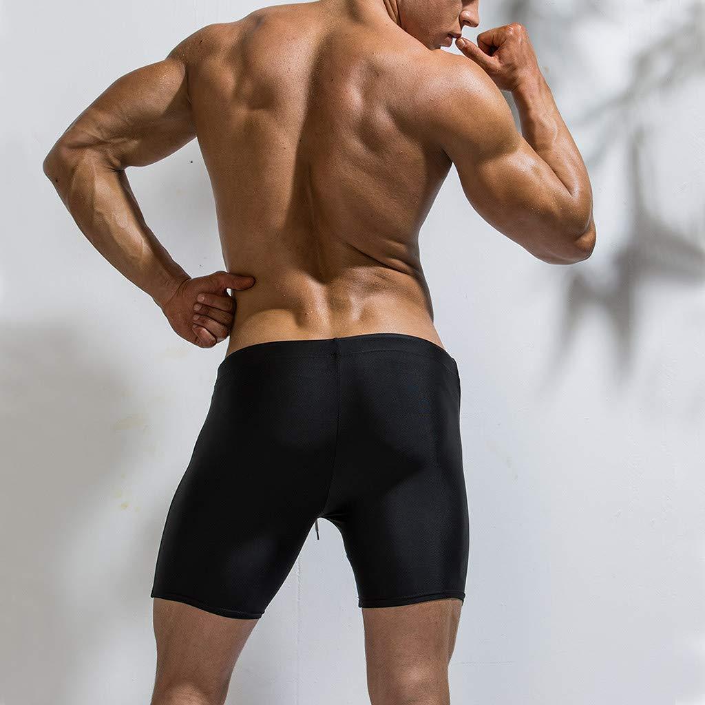 Mens Swimwear Trunks Nylon Stripe Colorblock Swimsuits Brief Surf Board Shorts with Adjustable Drawstrig