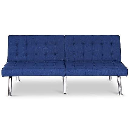 Amazon.com: Navy Blue PU Leather Futon Convertible Sofa ...