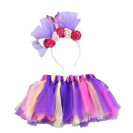 32169edf5fa56 Amazon.com  💗 Orcbee 💗 Girls Kids Tutu Party Dance Ballet Colours Costume  Skirt+Floral Fishtail Set (4-8 Years