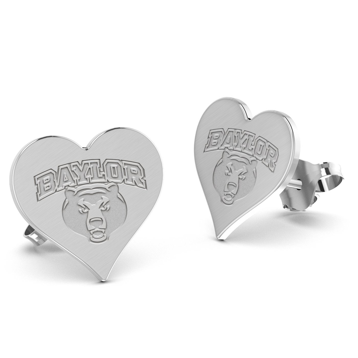 Baylor Bears Heart Stud Earring See Image on Model for Size Reference
