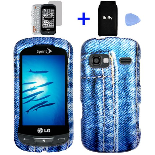 4-items-Combo-ITUFFYTM-Screen-Protector-Film-Accessories-Pouch-Case-Opener-Graphic-Case-Classic-Blue-Jean-Pants-Camouflage-Design-Rubberized-Snap-on-Hard-Shell-Cover-Faceplate-Skin-Phone-Case-for-Spri