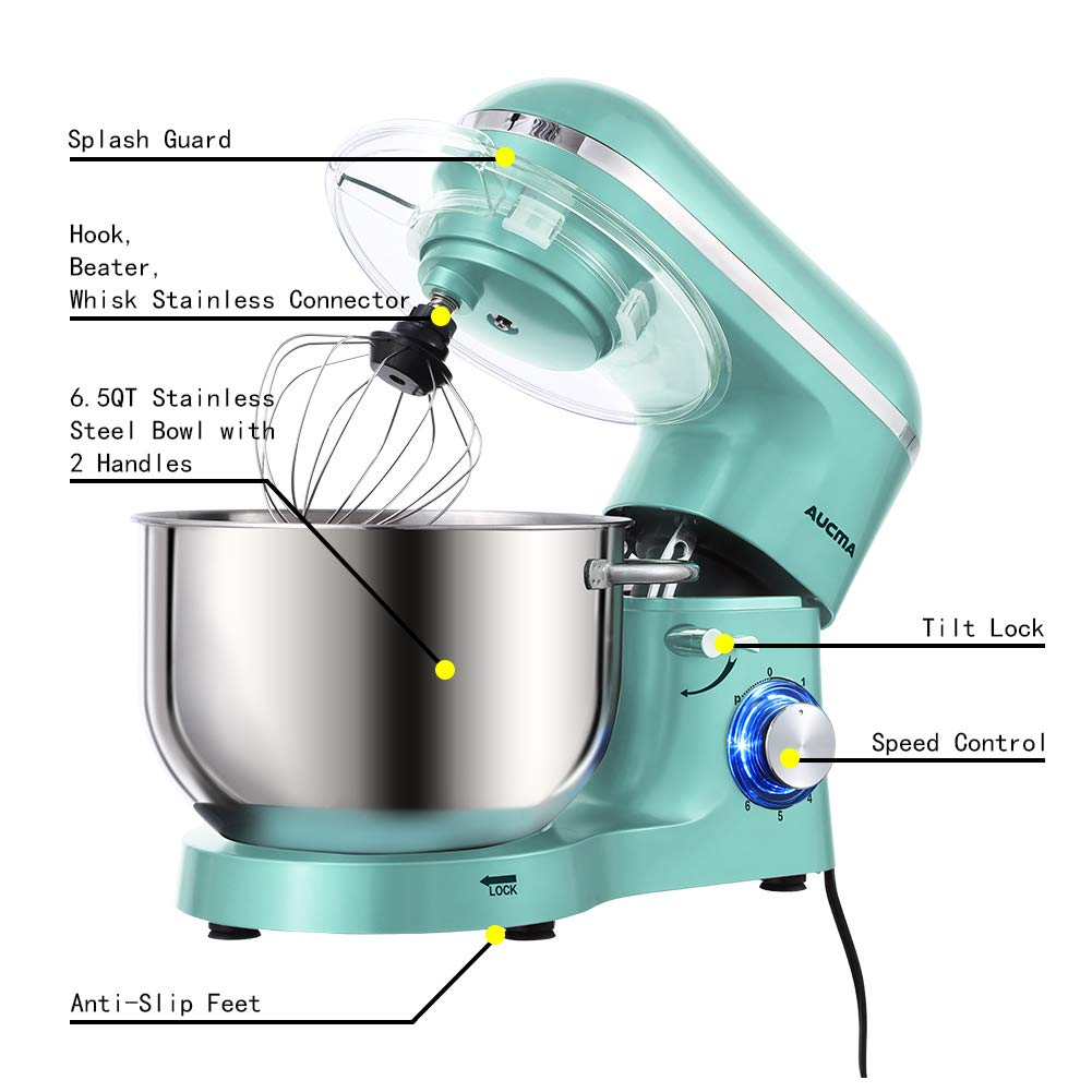 Aucma Stand Mixer,6.5-QT 660W 6-Speed Tilt-Head Food Mixer, Kitchen Electric Mixer with Dough Hook, Wire Whip & Beater (6.5QT, Blue) by AUCMA (Image #3)