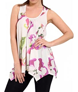 21FASHION Womens Sleeveless Printed Flared Hankey Hem Top Ladies Fancy Party Tunic Top Athleisure