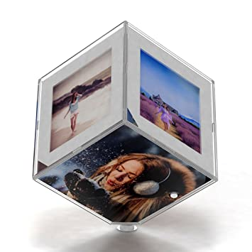 3b16cf4d46e2 Buy GiftsOnn Acrylic 6 Sided Photo Frame and Cube Awesome Personalised Gift  Magic Rotating (White) Online at Low Prices in India - Amazon.in