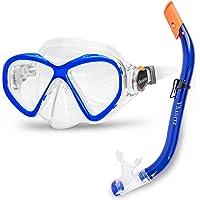Kids Snorkel Set Snorkel Mask, Anti-Leak Anti-Fog Snorkeling Gear with Mesh Bag,Tempered Glass Swimming Diving Scuba…