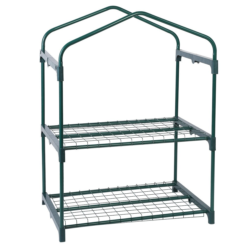 GLOGLOW Garden Mini Greenhouse Iron Stand,Reinforced Iron Self Frame for Portable Greenhouse Cover, 69 x 49 x 92cm/27.17 x 19.29 x 36.22 inch