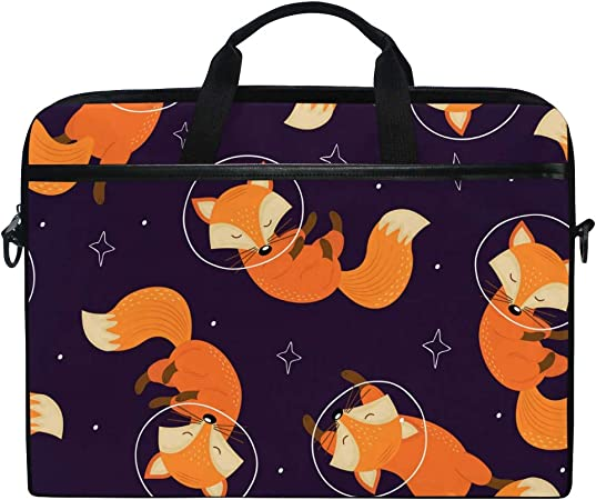 HELVOON Cute Fox Face Pattern Laptop Shoulder Messenger Bag Computer Briefcase Business Notebook Sleeve Cover Carrying Handle Bag for 14 inch to 15.4 inch
