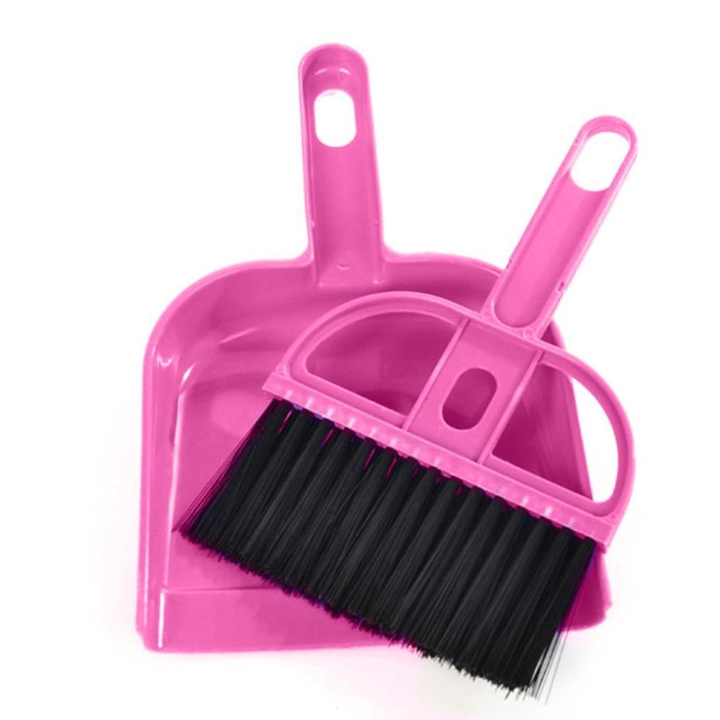 Botrong Mini Desktop Sweep Cleaning Brush Small Broom Dustpan Set (Hot Pink)