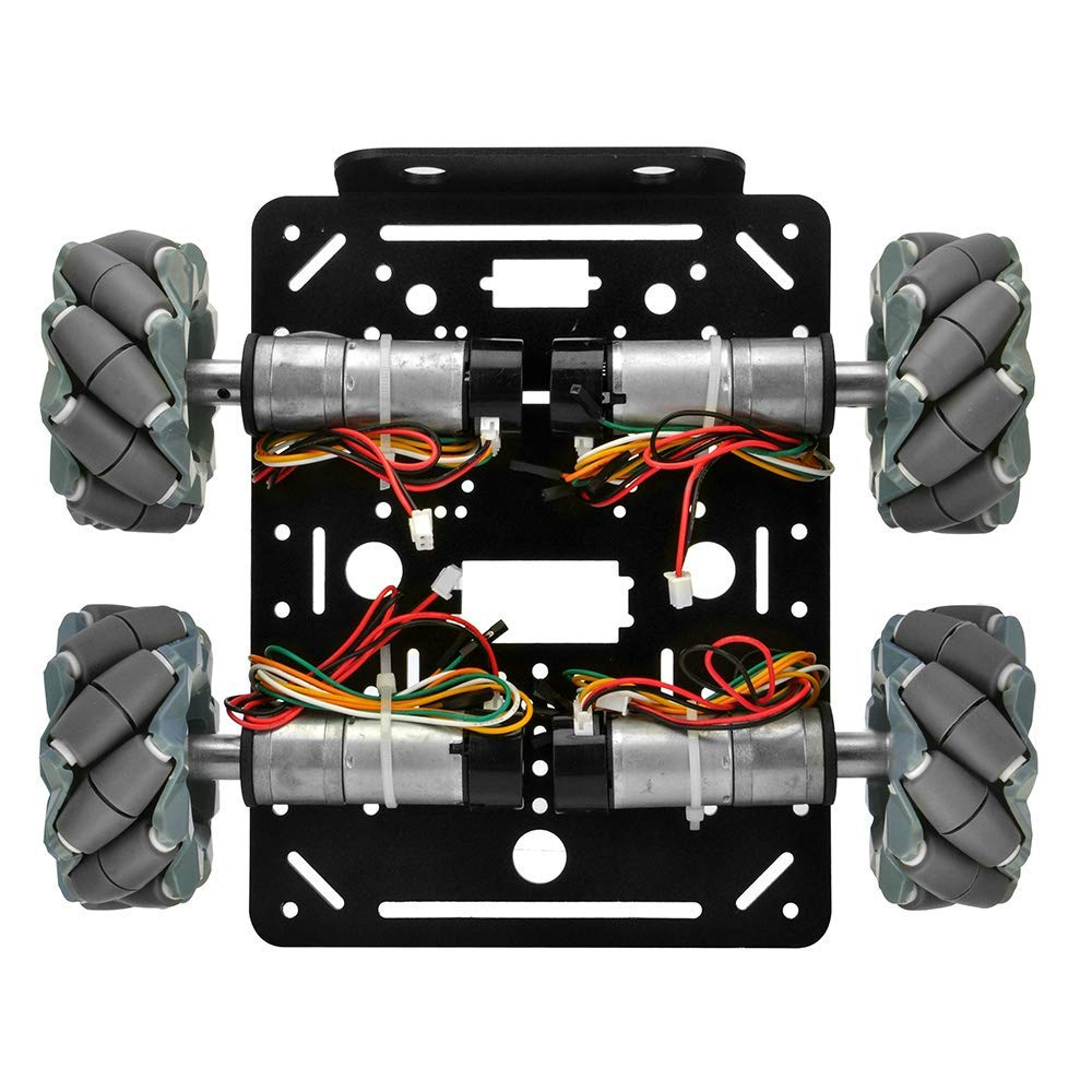 OSOYOO 4WD Omni Wheels Robotic Mecanum Ch/âssis de plate-forme de voiture de robot avec moteur de codeur de vitesse pour Arduino Micro Raspberry Pi bit DIY
