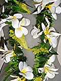 Deluxe Hawaiian Plumeria Flowers w/ Spider Lily Wedding Graduation Luau Silk Lei