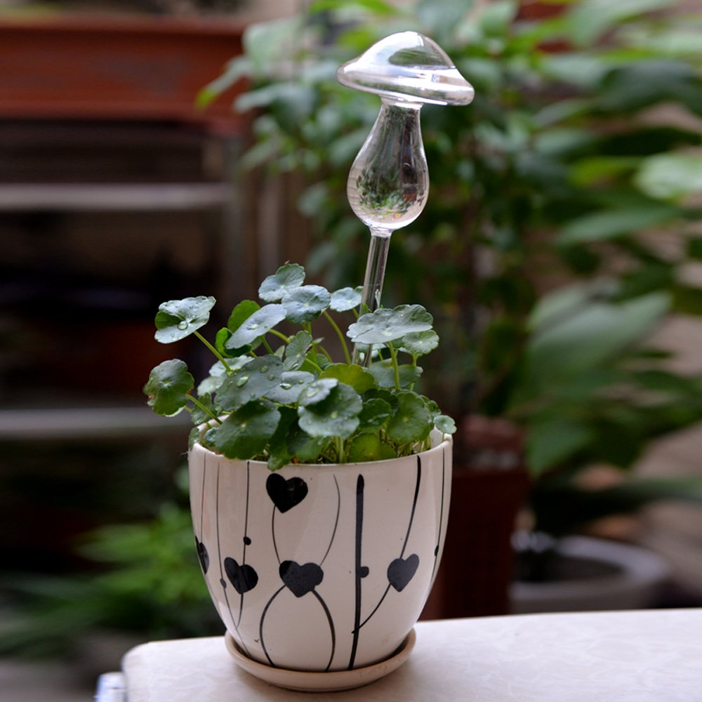 4/Packing Self Watering Clear Glass Aqua Globes Plant Automatic Watering Bulbs Mushroom Shape Design Hand Blown Artlass