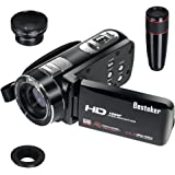 Besteker HDMI 1080p 24.0 Megapixels16X Digital Zoom Video Camcorder DV 3.0 TFT LCD Rotation Touch Screen Video Recorder with Remote Control and Face Detection Function + 12x Teleconverter & Wide Angle Lens