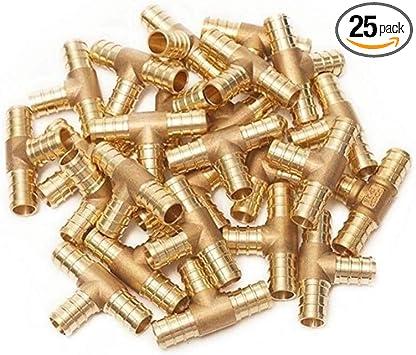 Brass Crimp Fitting 1//2 PEX x 1//2 x 1//2 PEX Tee 25 in Bag