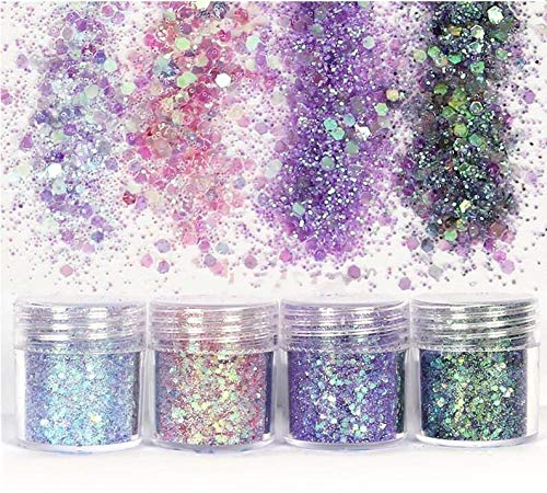 4 Boxes Glitter Sequins Mix Laser Hexagon Acrylic Glitters Powder Dust Chunky Nails Manicure Nail Art Decorations 10Ml/ Box 24A