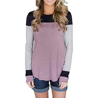 Minthunter Women's Long Sleeve Crew Neck Cute Tunic Color Block Tops at Women's Clothing store