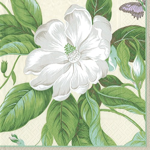 Entertaining with Caspari Dinner Napkin, Garden Images Parchment Green, 20-Pack (Napkins High End Paper)