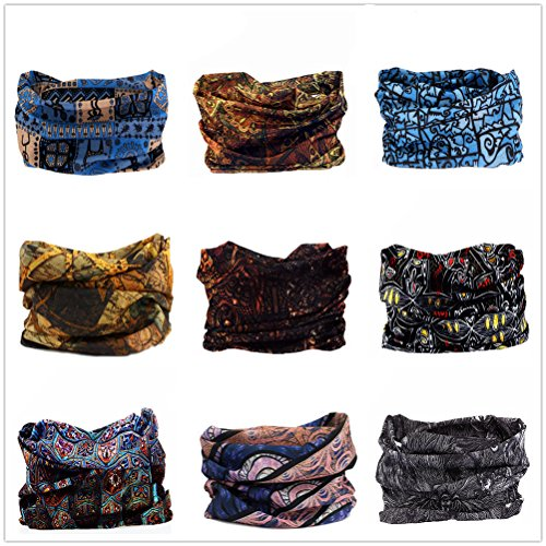 9PCS & 6PCS Headwear, Headband Scarf Bandanna Headwrap Mask Neckwarmer & More 12-in-1 Multifunctional Stretchable