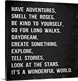 Gallery-Wrapped Canvas entitled Have Adventures, grey on black by Louise Carey 24''x24''