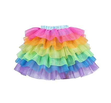 96ac5ed88 Amazon.com: Tao-Ge Rainbow Tulle Skirts for Girls Unicorn Tutu Skirts for  Halloween,Party: Toys & Games