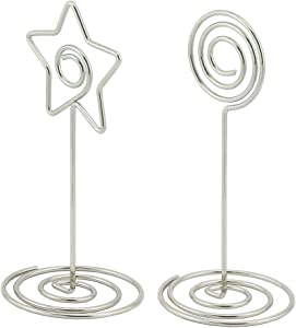 NXG 20-Pack Creative Photo Clips,10 x Swirl Shape & 10 x Star Shape 3.3 Inches Silver Chrome Plated Metal Clip, Wedding Desktop Decoration Memo Stand Tabletop Card Holder