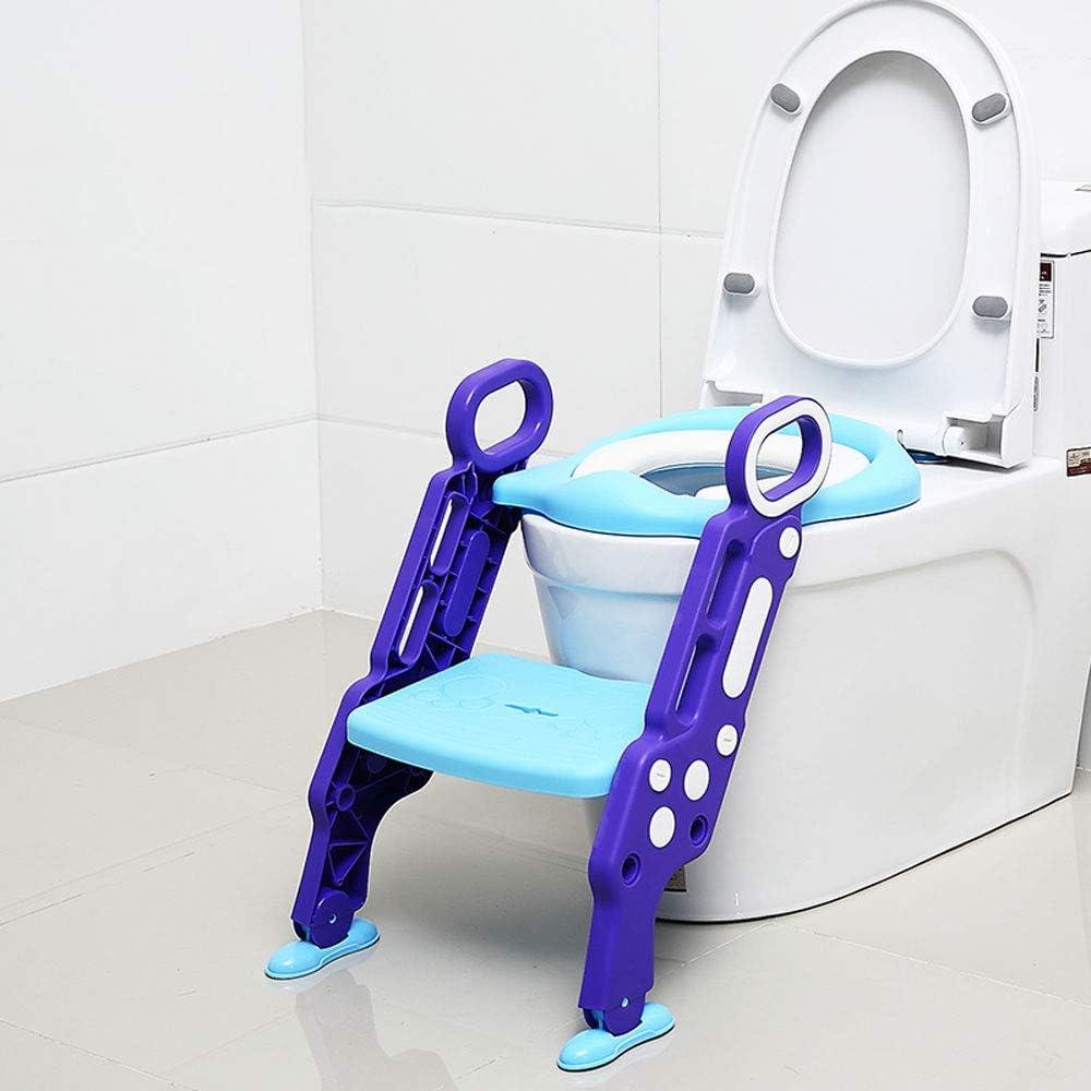 JIAJU Aseo Escalera Asiento Escalera del tocador de niños Asiento para WC con escalón Plegable Orinal Formación Reductor WC para Niños Acolchado Suave conApto para 1-7 años (Azul-púrpura): Amazon.es: Hogar
