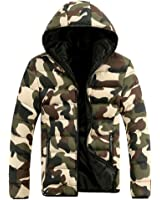 選べる3色 各5サイズ 迷彩 中綿 ジャケット カモフラージュ 長袖 ダウン 緑 青 赤 M L XL XXL XXXL