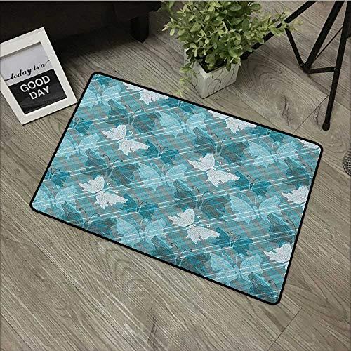 Bathroom Door mat W19 x L31 INCH Grunge,Butterflies Pattern Checkered Backdrop Animal Spring Season Inspirations, Pale Blue Teal Grey Non-Slip Door Mat Carpet