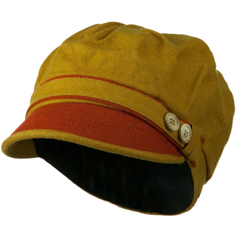 Women's 2 Tone Wool Poly Blend Newsboy Cap - Yellow Orange OSFM