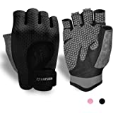 KANSOON Breathable Workout Gloves, Knuckle Weight Lifting Fingerless Gym Exercise Gloves with Curved Open Back, for…